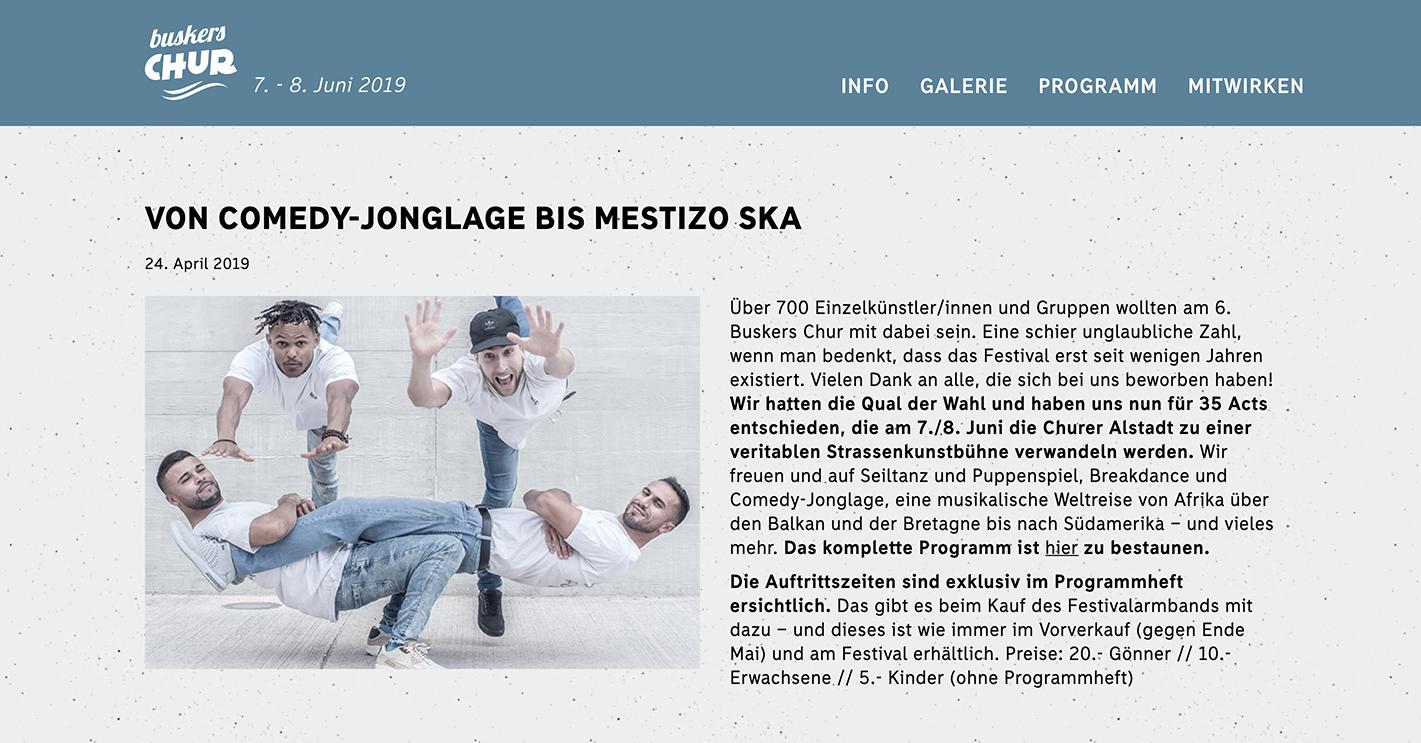 Surprise Effect pour Buskers Chur (Festival de spectacle de rue en Suisse)