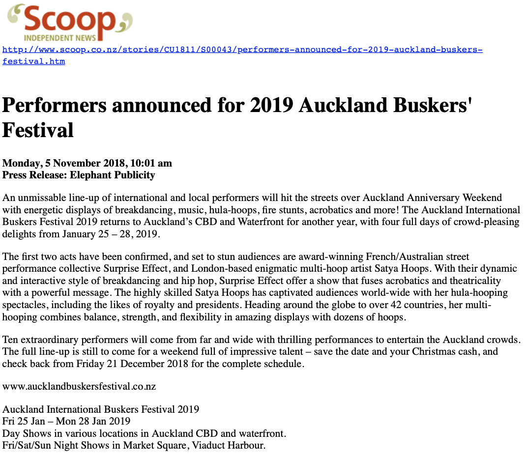 Surprise Effect en une du journal Scoop pour le festival de Nouvelle Zélande